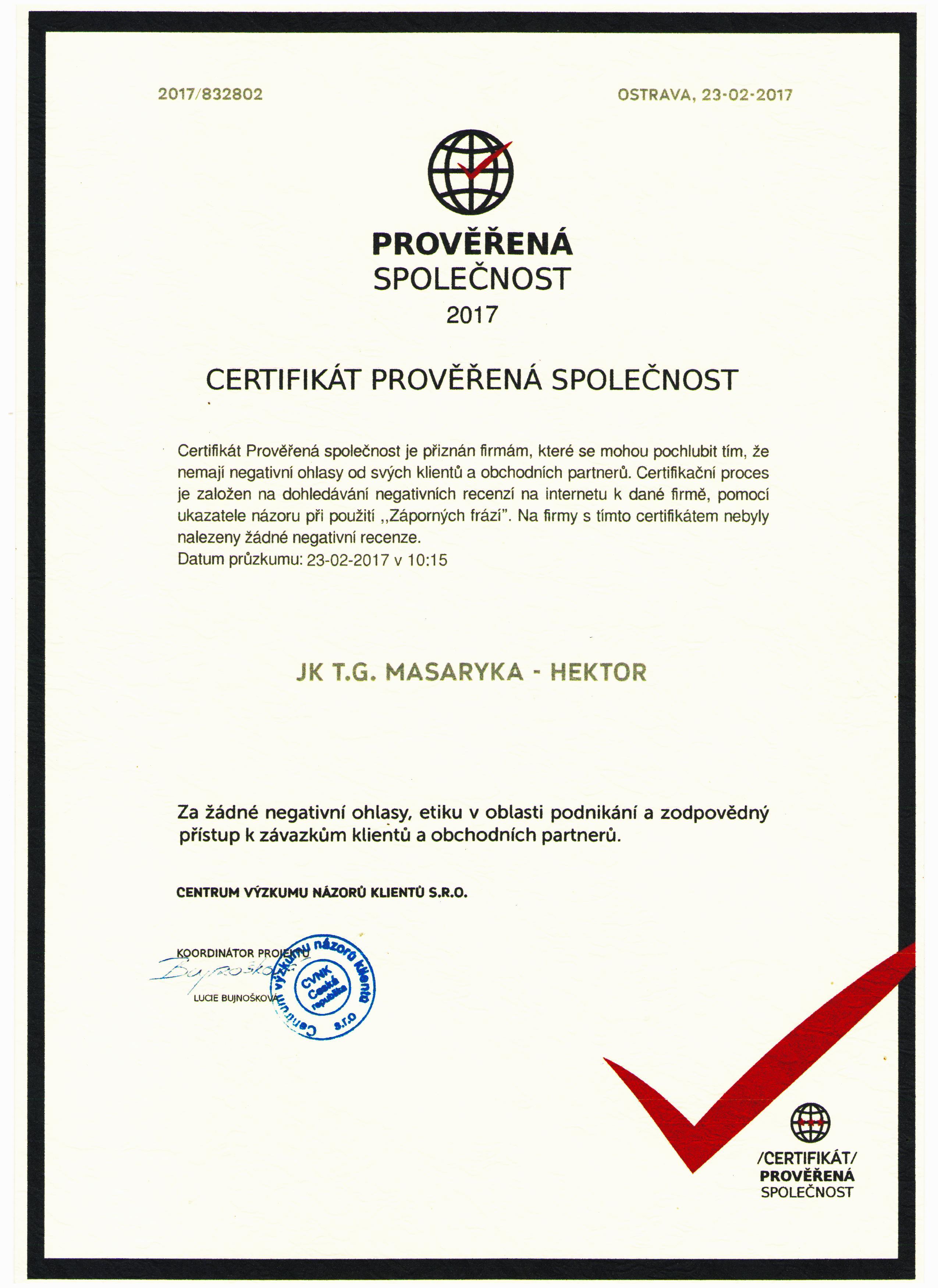 Certifikát Prověřená společnost